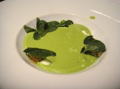 Chilled Pea Soup Pecorino Croutons & Pea Shoots They poured the pea soup out of a little teapot-like container.