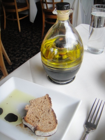 The olive oil and balsamic vinegar bottles stack together nicely in a bottle statue