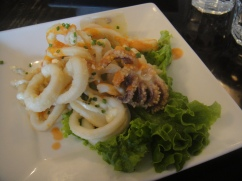 Calamari Picante lightly breaded, served with a lemon & caper aioli