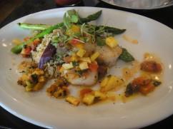 Seared Digby Scallops quinoa and frisée tabule, mango citrus salsa