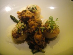 Pan Seared Scallops Tamarind Glazed Asparagus pakora, baby carrots & coconut beurre blanc