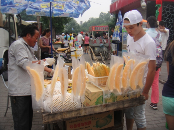 We saw these cantaloupe stands all over the place. Not sure how hygienic it would be to eat these though lol