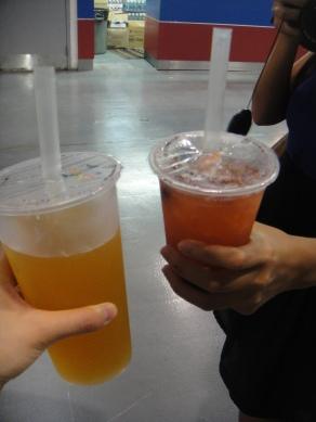 passion fruit green tea & strawberry green tea with tapioca