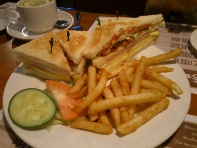 Club Sandwich -- tomato, lettuce, bacon, egg (so soft and delicious!)
