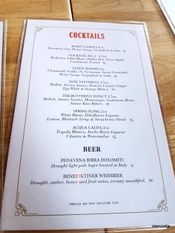Campagnolo drinks menu and prices