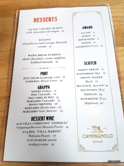Campagnolo dessert menu and prices